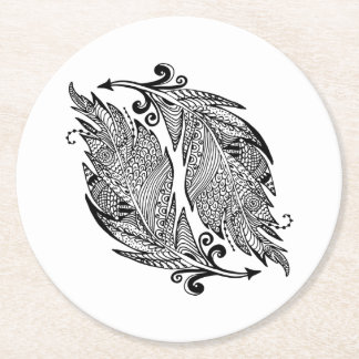 Inspired Sketch Of Feathers Round Paper Coaster