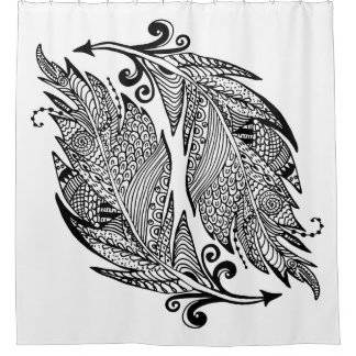 Inspired Sketch Of Feathers Shower Curtain