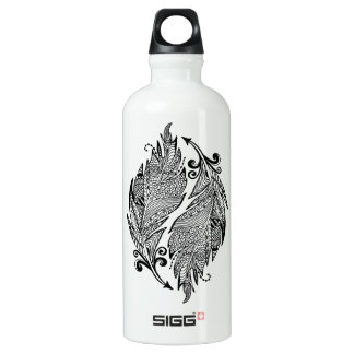 Inspired Sketch Of Feathers Water Bottle