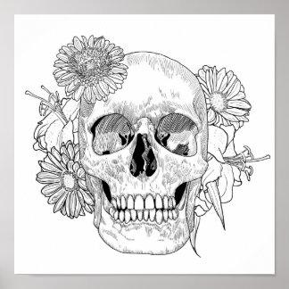 Inspired Skull And Flowers 2 Poster