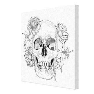 Inspired Skull And Flowers 6 Canvas Print