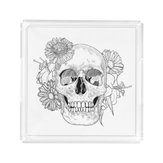 Inspired Skull And Flowers Acrylic Tray