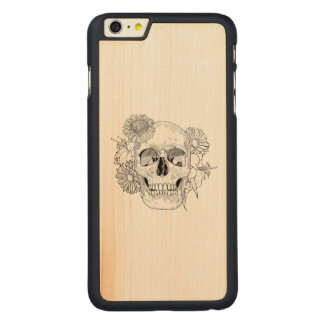 Inspired Skull And Flowers Carved® Maple iPhone 6 Plus Case