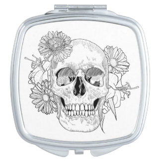 Inspired Skull And Flowers Compact Mirror