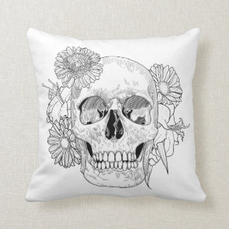 Inspired Skull And Flowers Cushion