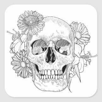 Inspired Skull And Flowers Square Sticker
