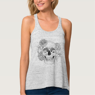 Inspired Skull And Flowers Tank Top