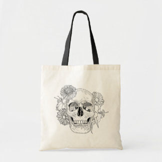 Inspired Skull And Flowers Tote Bag