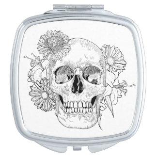 Inspired Skull And Flowers Travel Mirror