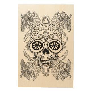 Inspired Skull In Flowers 5 Wood Print