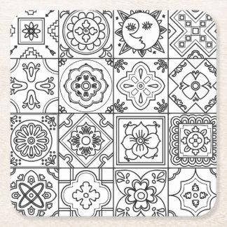 Inspired Talavera Pattern Square Paper Coaster