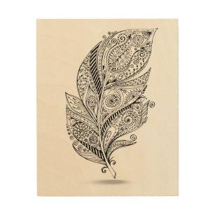 Boho Feather Wood Wall Art | Zazzle co uk