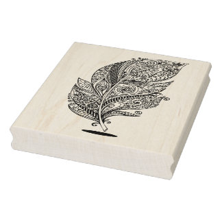 Inspired Tribal Feather Rubber Stamp