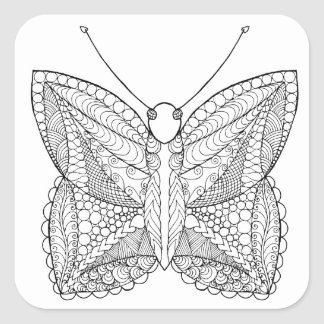 Inspired Tropical Design Butterfly Square Sticker