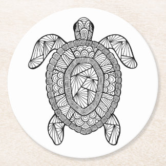 Inspired Turtle Round Paper Coaster
