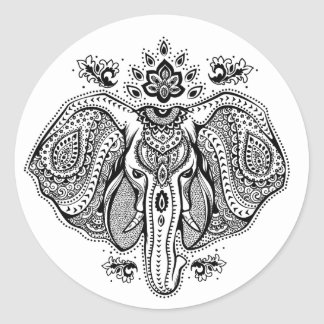 Inspired Vintage Indian Elephant Classic Round Sticker