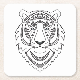 Inspired White Tiger Square Paper Coaster