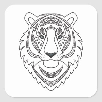 Inspired White Tiger Square Sticker