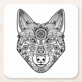 Inspired Wolf Head Square Paper Coaster