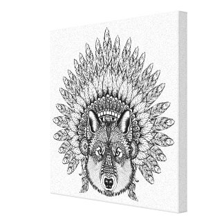 Inspired Wolf In Feathered War Bonnet 6 Canvas Print