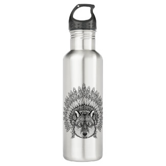 Inspired Wolf In Feathered War Bonnet 710 Ml Water Bottle
