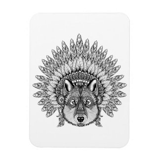 Inspired Wolf In Feathered War Bonnet Magnet