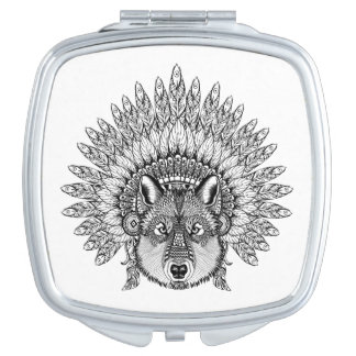 Inspired Wolf In Feathered War Bonnet Mirrors For Makeup