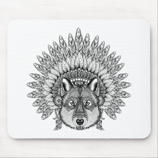 Inspired Wolf In Feathered War Bonnet Mouse Mat