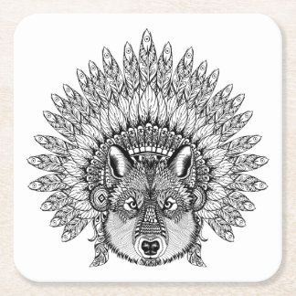 Inspired Wolf In Feathered War Bonnet Square Paper Coaster