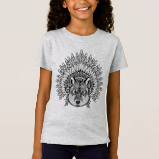 Inspired Wolf In Feathered War Bonnet T-Shirt