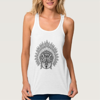 Inspired Wolf In Feathered War Bonnet Tank Top