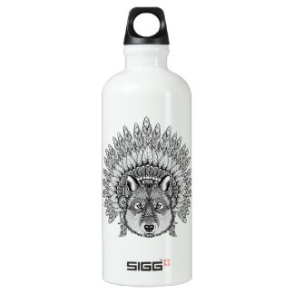 Inspired Wolf In Feathered War Bonnet Water Bottle
