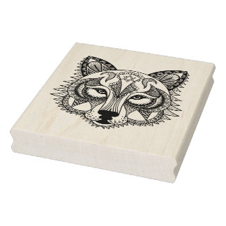 Inspired Wolf Rubber Stamp