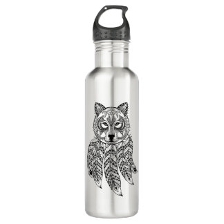 Inspired Wolf With Dreamcatcher 710 Ml Water Bottle