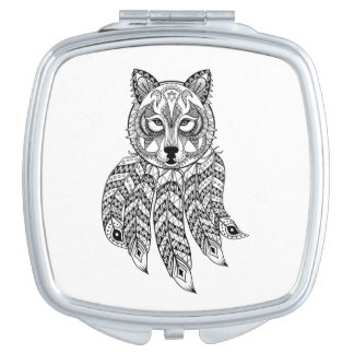 Inspired Wolf With Dreamcatcher Travel Mirrors