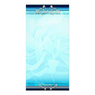Inspiring Aqua Blue floral gift Photo Card