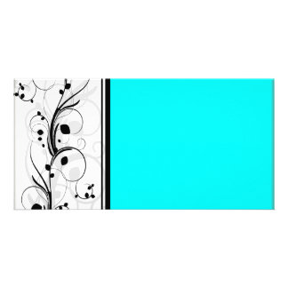 Inspiring black floral and cyan texture photo card template
