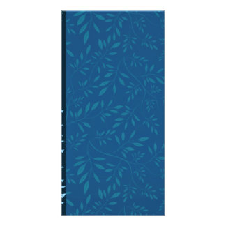 Inspiring Blue floral leaves Picture Card