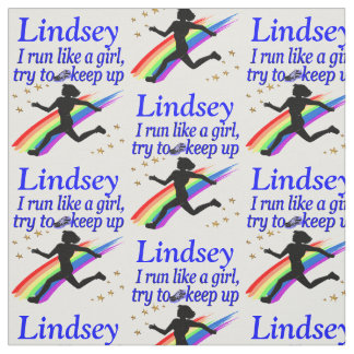 INSPIRING BLUE RUNNER GIRL PERSONALIZED FABRIC