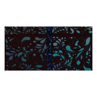 Inspiring bluish damask custom photo card