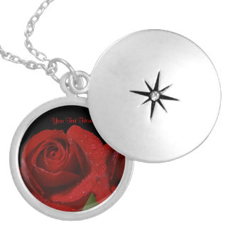 Inspiring Dew Covered Dark Red Rose Design Locket