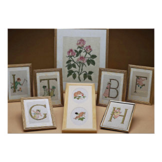 Inspiring Embroidered initials in frames Custom Announcements