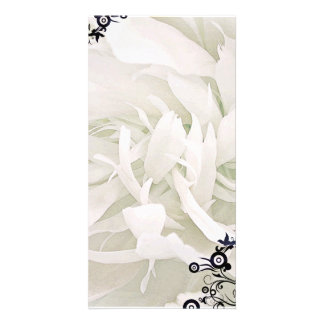 Inspiring Green mixed white floral design Photo Card