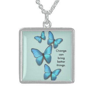 Inspiring growth fluttering butterflies sterling silver necklace