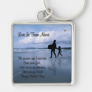 Inspiring Love is From Above – Father & Child Silver-Colored Square Key Ring
