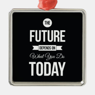 Inspiring Quotes The Future Black Christmas Ornament