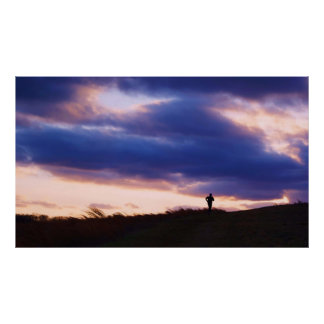 Inspiring Runner at Sunset Poster