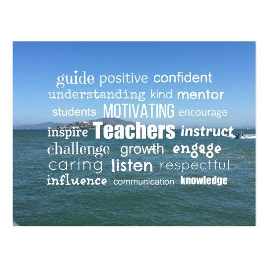 Inspiring Teachers Word Collage Postcard