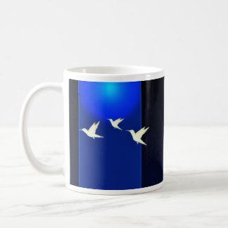 Inspiring white birds and pink blossom gift coffee mug
