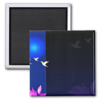 Inspiring white birds and pink blossom gift square magnet